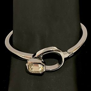 SilverTone Crystal Gemstone Hinged Bracelet Modern